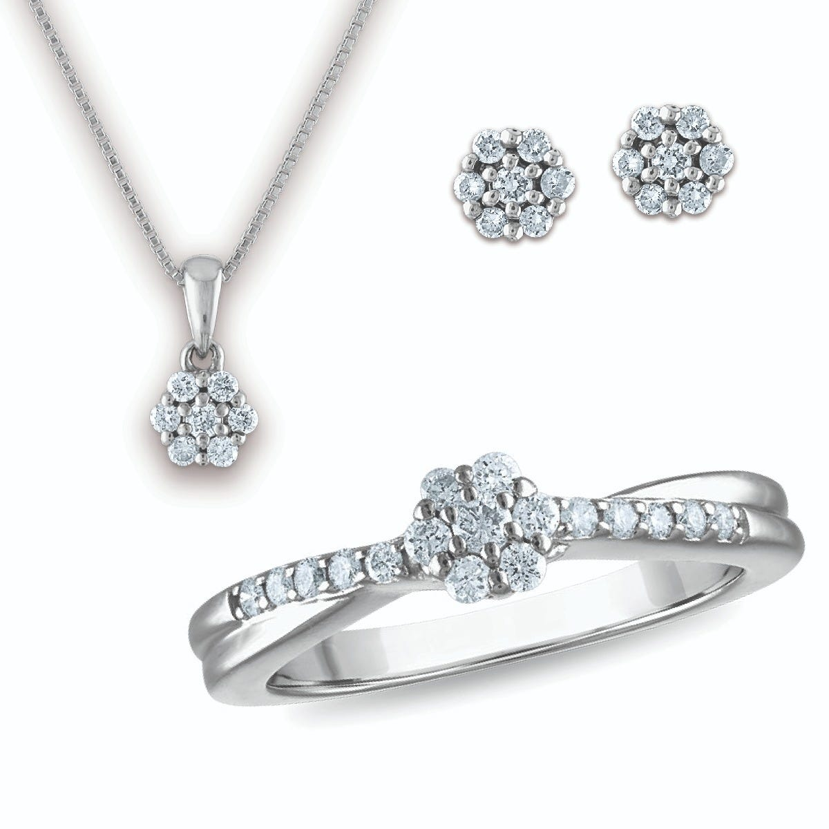 Lab Grown Diamond Flower Ring, Pendant, and Earring Set in Sterling Silver