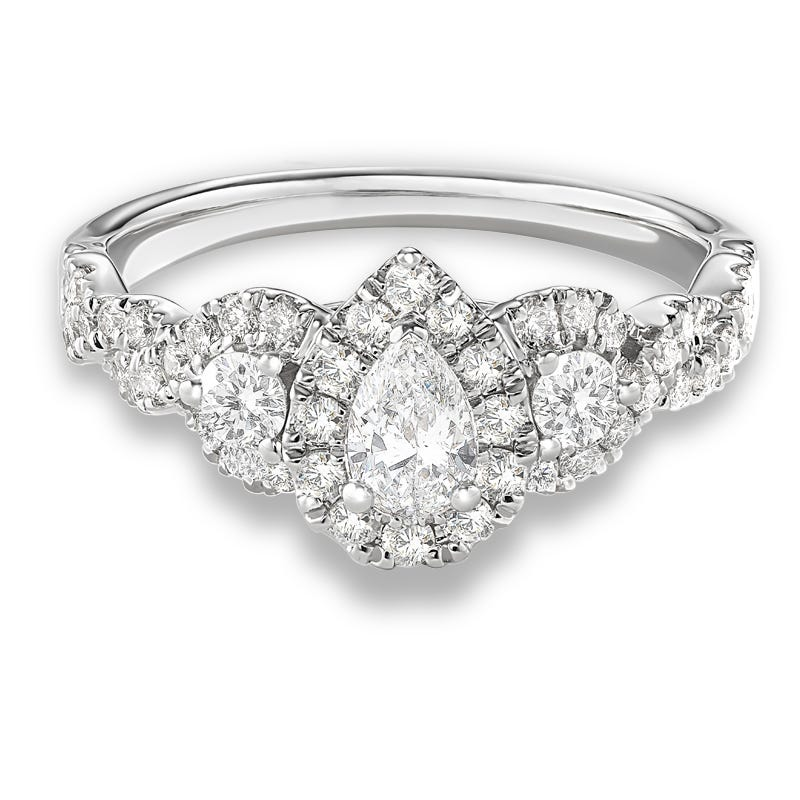 Melina. Pear Halo Engagement Ring 1ctw. in 14k White Gold