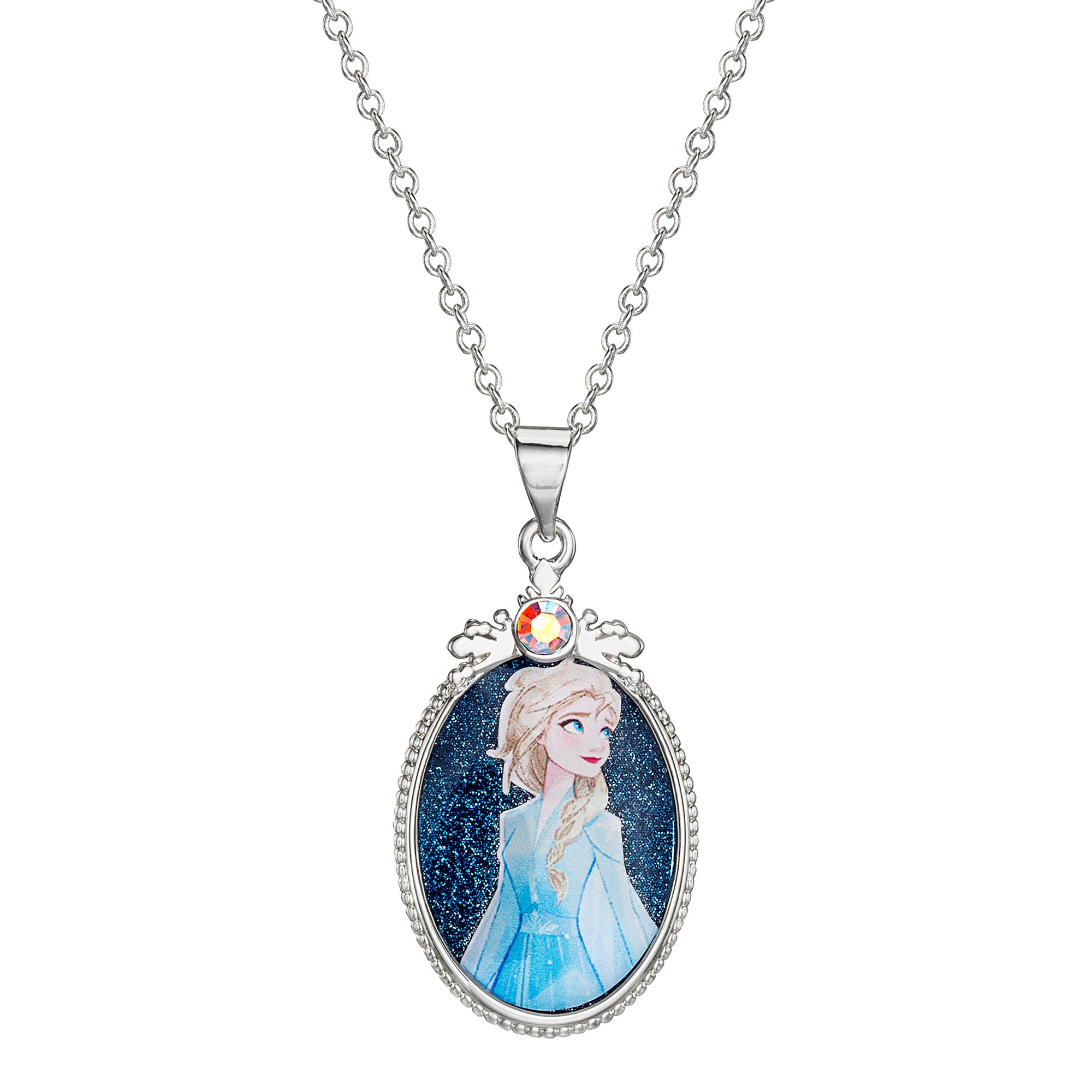 Disney Elsa Blue Glitter Pendant in Sterling Silver