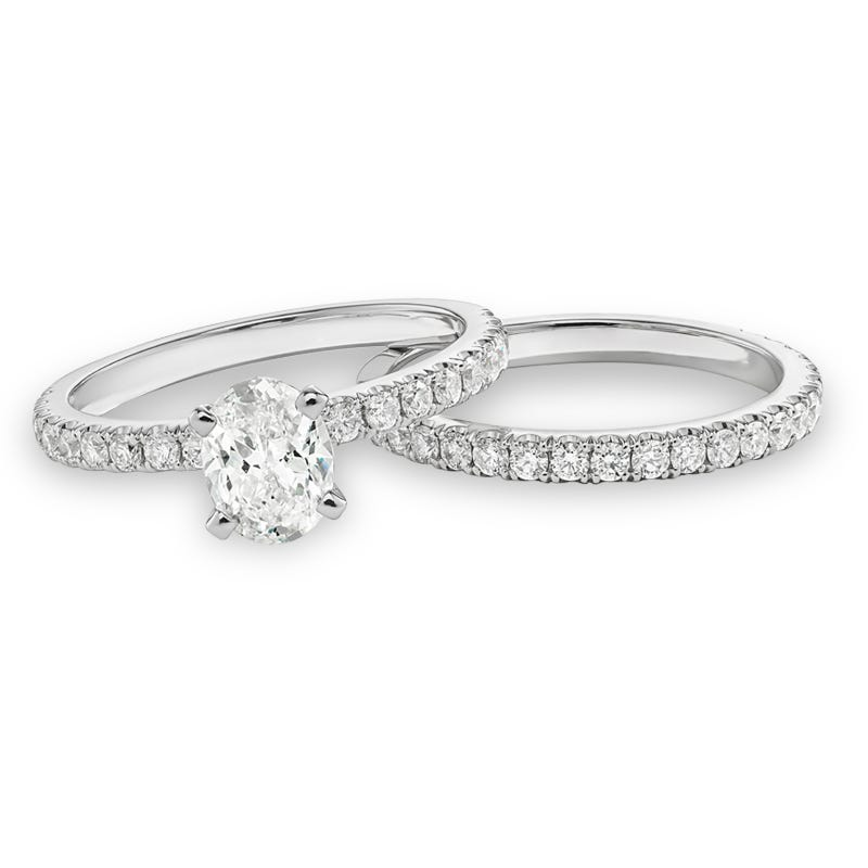 Lyra. Lab Grown 1 1/2ct. Diamond Bridal Set in 14k White Gold