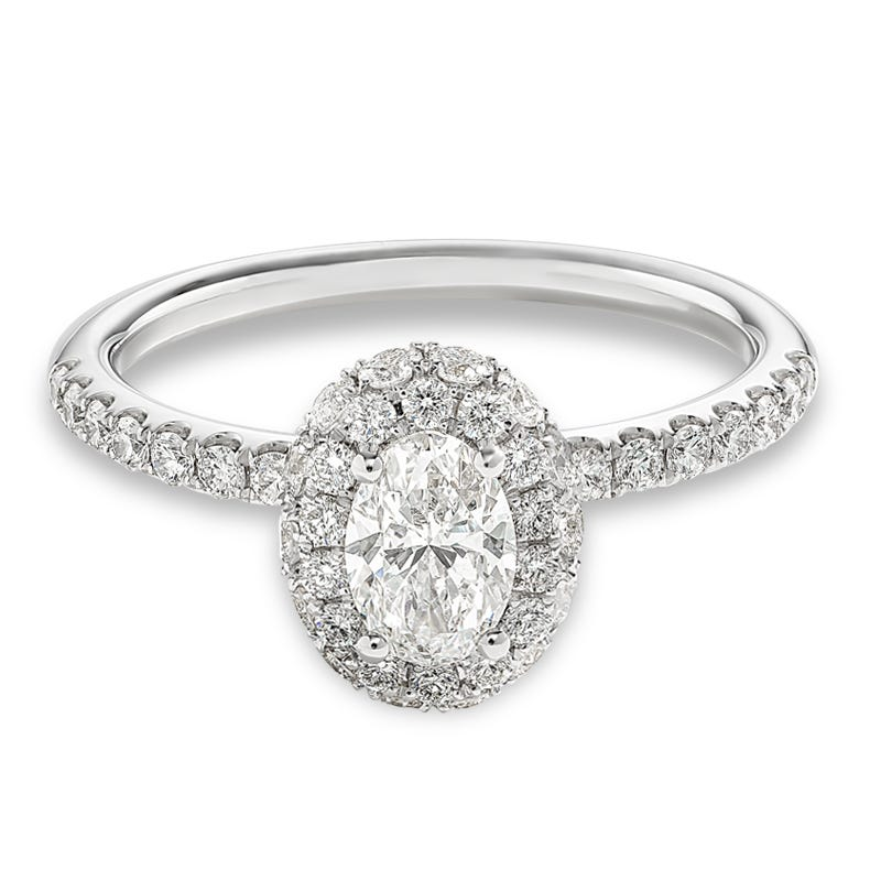 Avianna. Diamond Oval Fancy Halo Engagement Ring