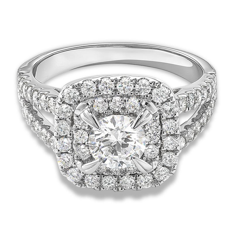 Lincoln. Lab Grown 1 1/2ct. Diamond Double Halo Engagement Ring in 14k White Gold