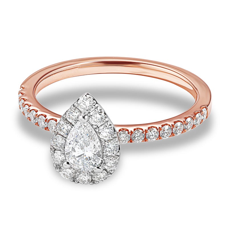 Austin Pear Shaped Diamond Halo Engagement Ring 7 8ctw In 14k White Rose Gold