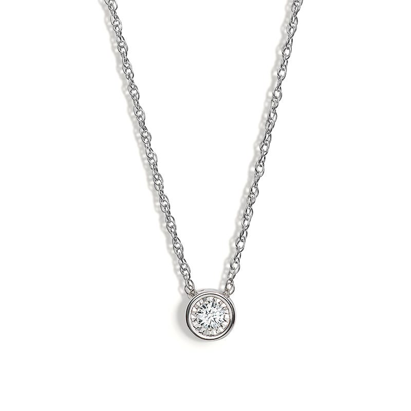 Lab Crafted Diamond Bezel Pendant 1/4ctw. In 14k White Gold