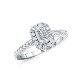 Lab Grown 1ct. Diamond Emerald-Cut Engagement Ring in 14k White Gold