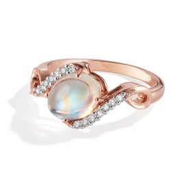 Oval Rainbow Moonstone & Diamond Ring in 14k Rose Gold