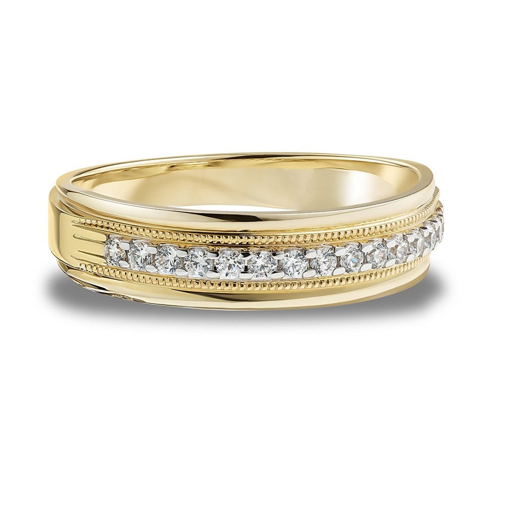 Men's Diamond Band 1/4ctw. In 10k Yellow Gold