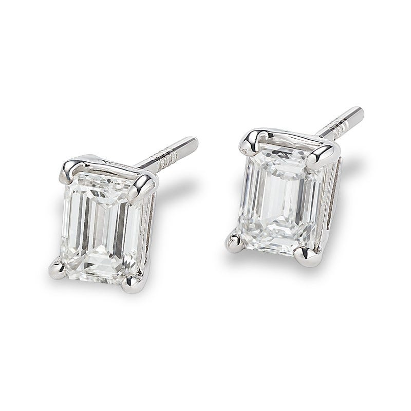 Lab Grown 1ct. Diamond Emerald-Cut Stud Earrings in 14k White Gold