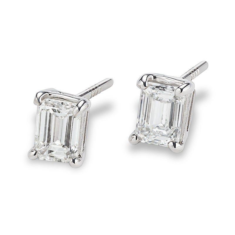 Lab Grown 2ct. Diamond Emerald-Cut Stud Earrings in 14k White Gold