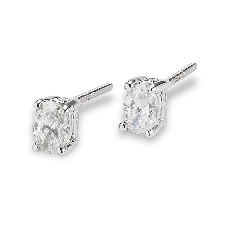 Lab Grown 1 1/2ct. Diamond Oval Stud Earrings in 14k White Gold
