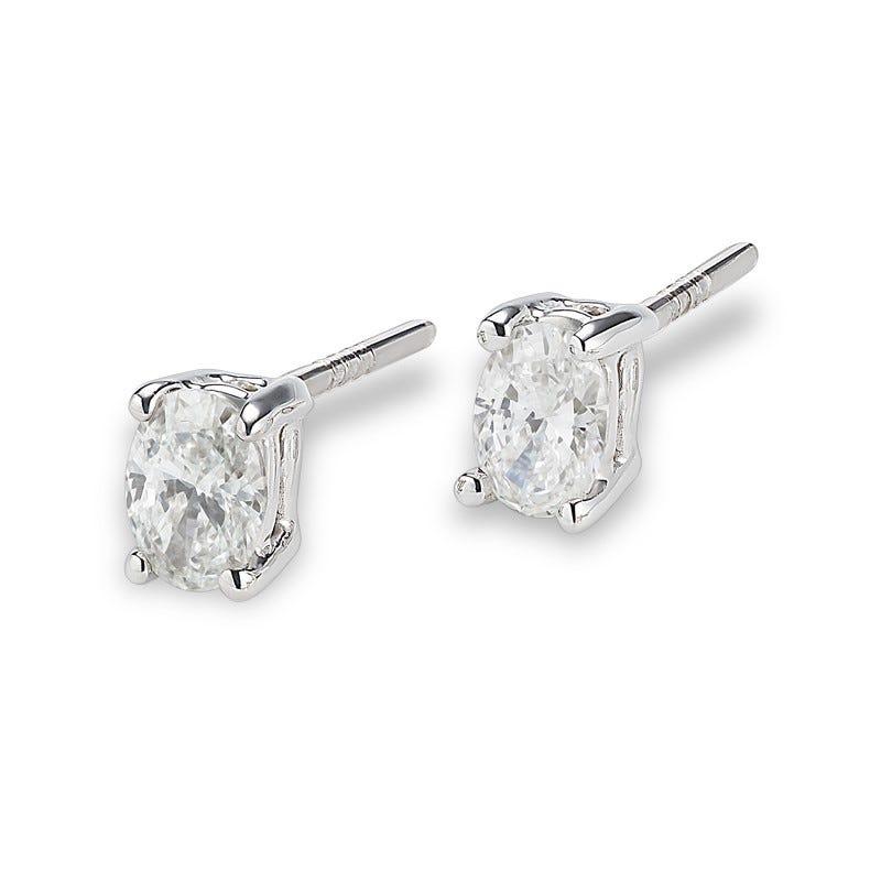 Lab Grown 2ct. Diamond Oval Stud Earrings in 14k White Gold