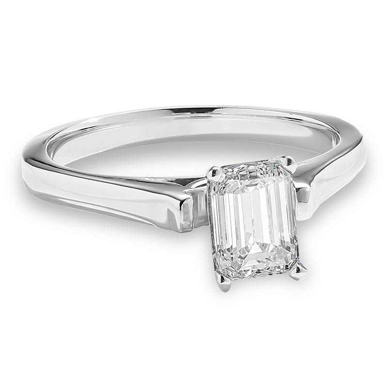 Lab Grown 1/2ct. Diamond Solitaire Emerald-Cut Engagement Ring in 14k White Gold