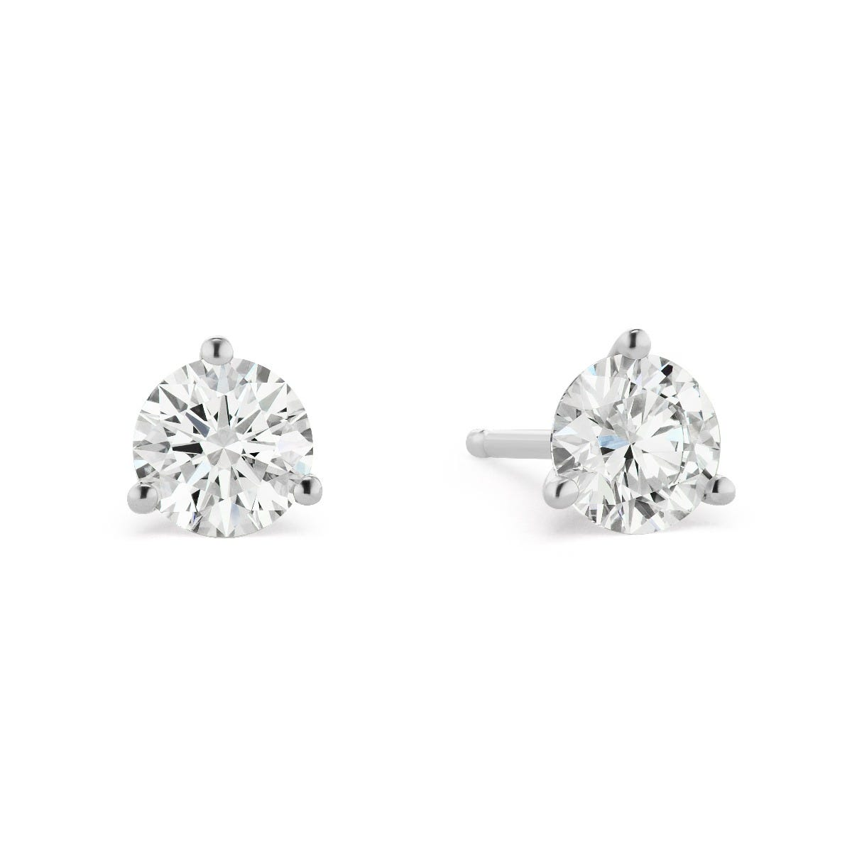 Lab-Crafted 3 Prong 1 1/2ctw. Stud Earrings in 14k White Gold