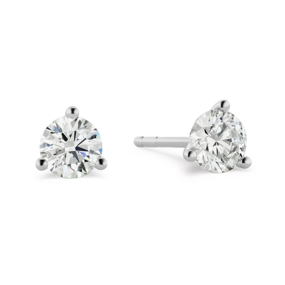 Lab Grown 2ct. Diamond 3-Prong Stud Earrings in 14k White Gold