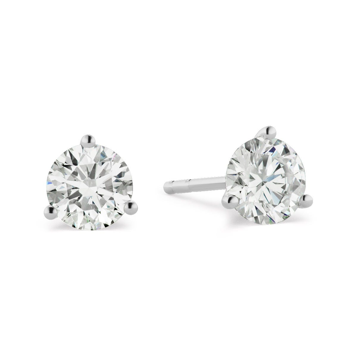 Lab Grown 2 1/2ct. Diamond 3-Prong Stud Earrings in 14k White Gold