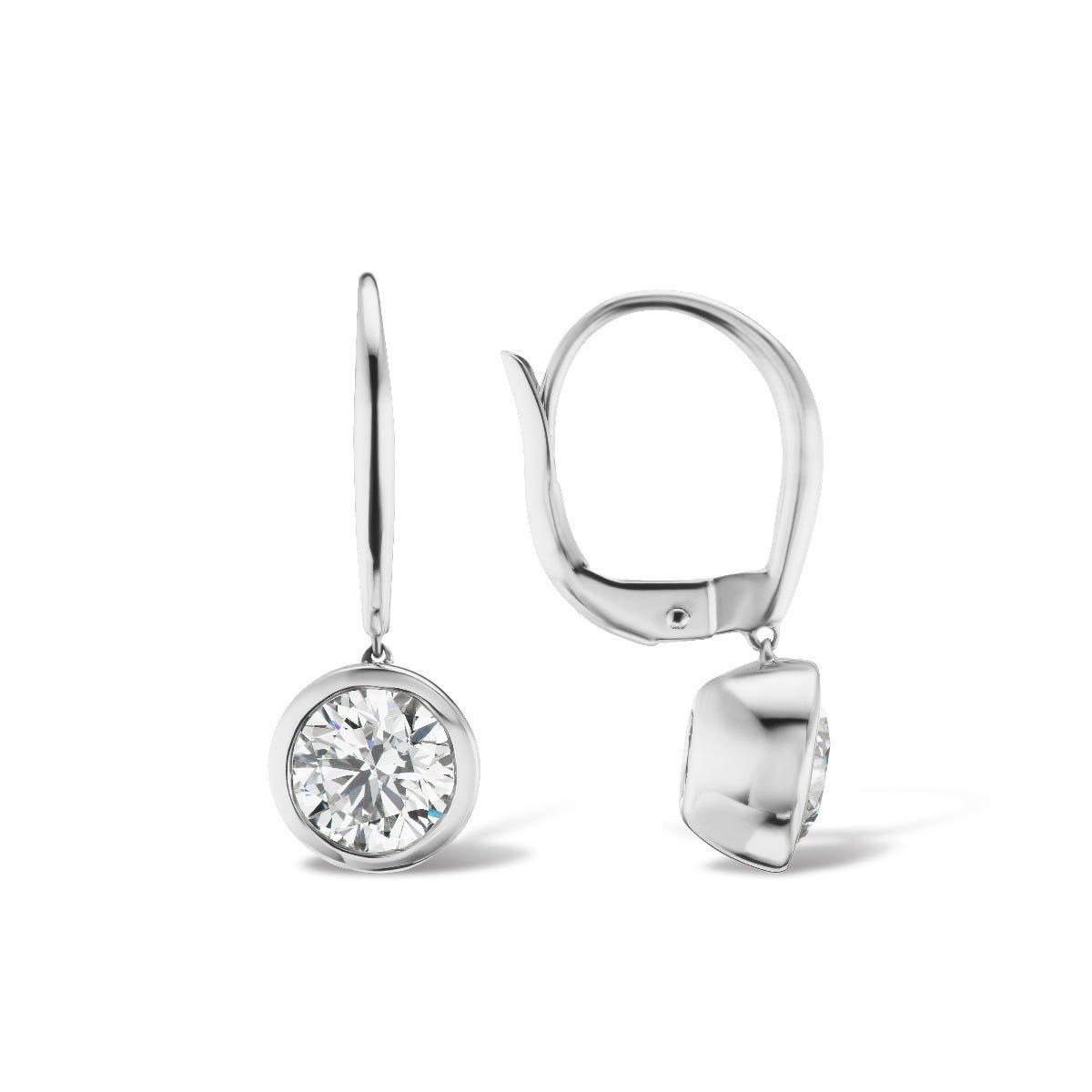 Lab Grown 1ct. Diamond Bezel Set Stud Earrings in 14k White Gold
