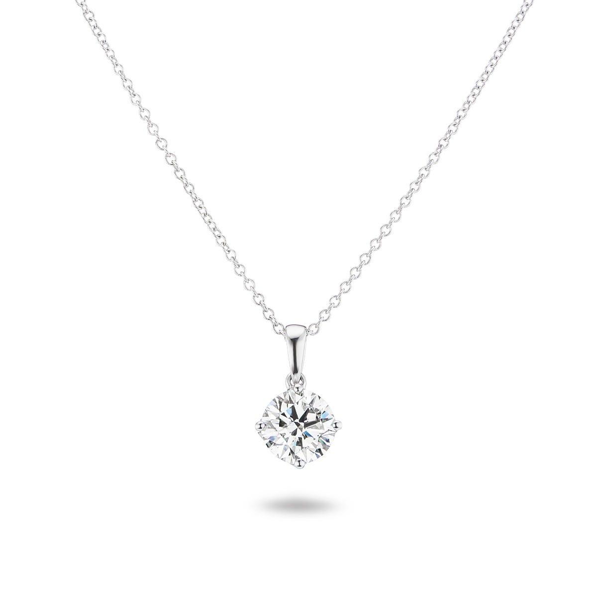 Lab Grown 7/8ct. Diamond 4-Prong Pendant in 14k White Gold