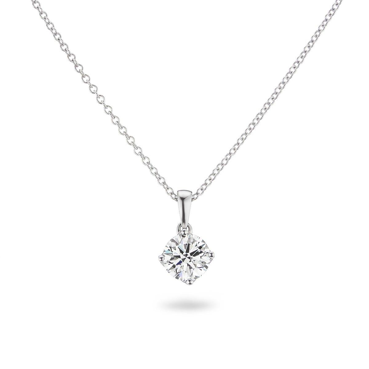 Lab Grown 1 1/4ct. Diamond 4-Prong Pendant in 14k White Gold