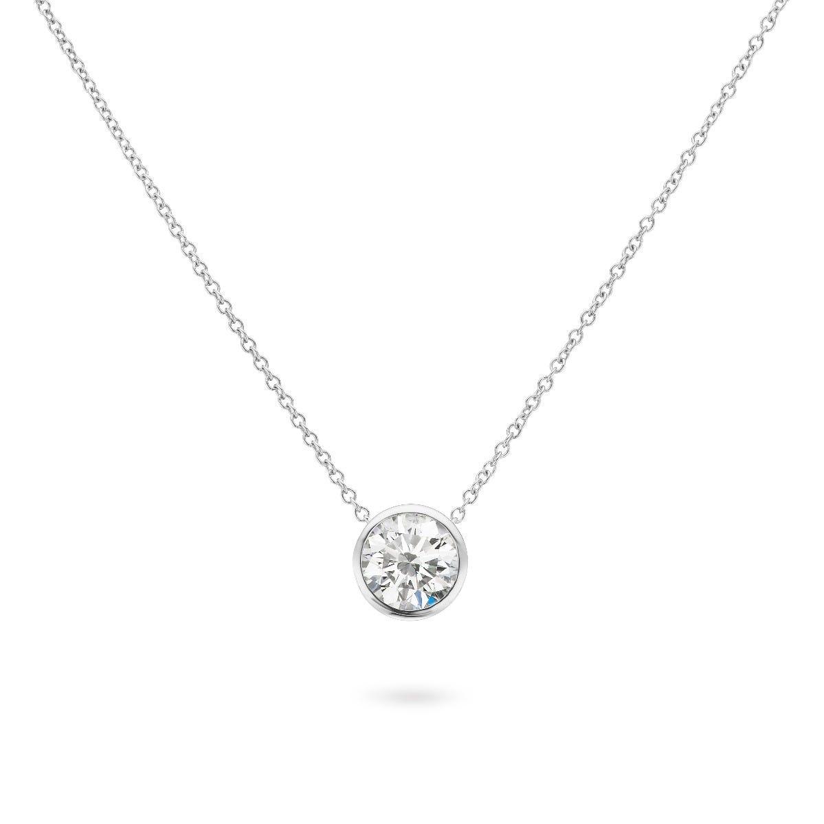Lab Grown 7/8ct. Diamond Bezel Set Pendant in 14k White Gold