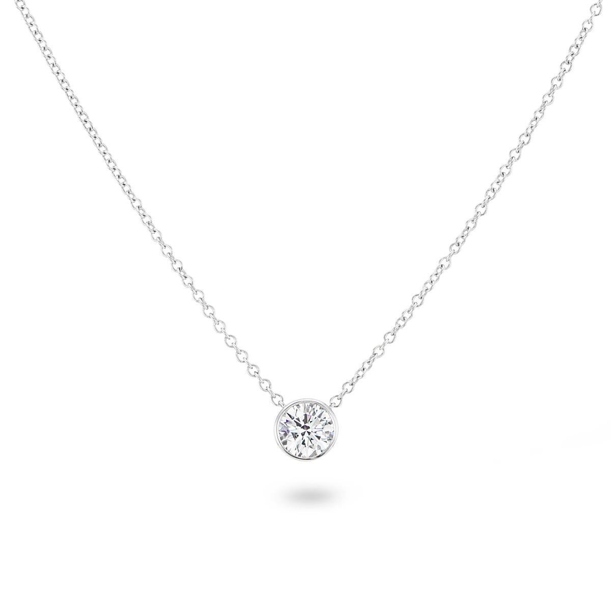Lab Grown 1/2ct. Diamond Bezel Set Pendant In 14k White Gold