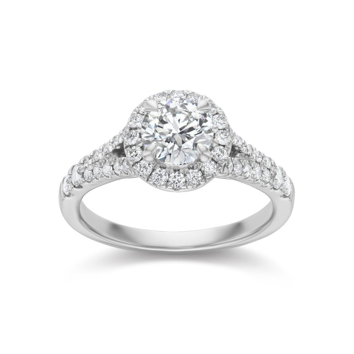 Lab Grown 1 1/2ct. Diamond Split Shank Engagement Ring in 14k White Gold