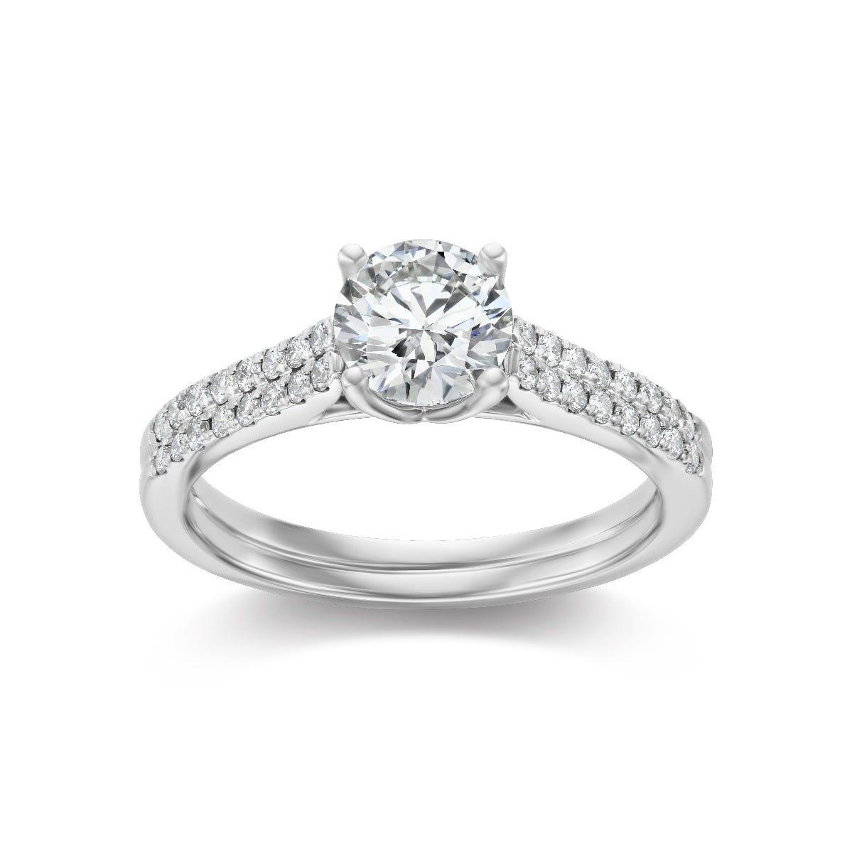 Lab Grown 1 1/4ctw. Diamond Engagement Ring in 14k White Gold