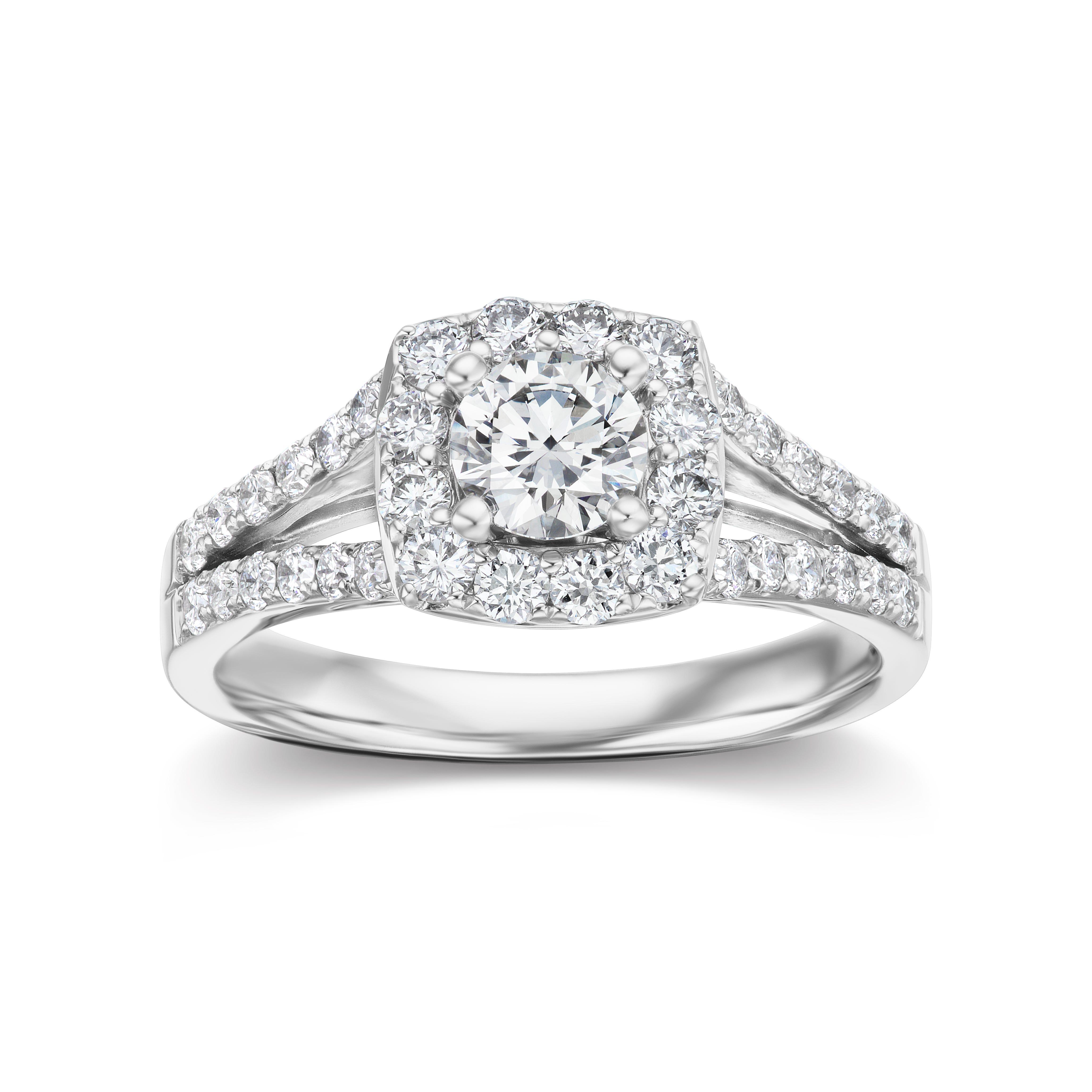 Lab Grown 1 1/4ct. Diamond Split Shank Halo Engagement Ring in 14k White Gold