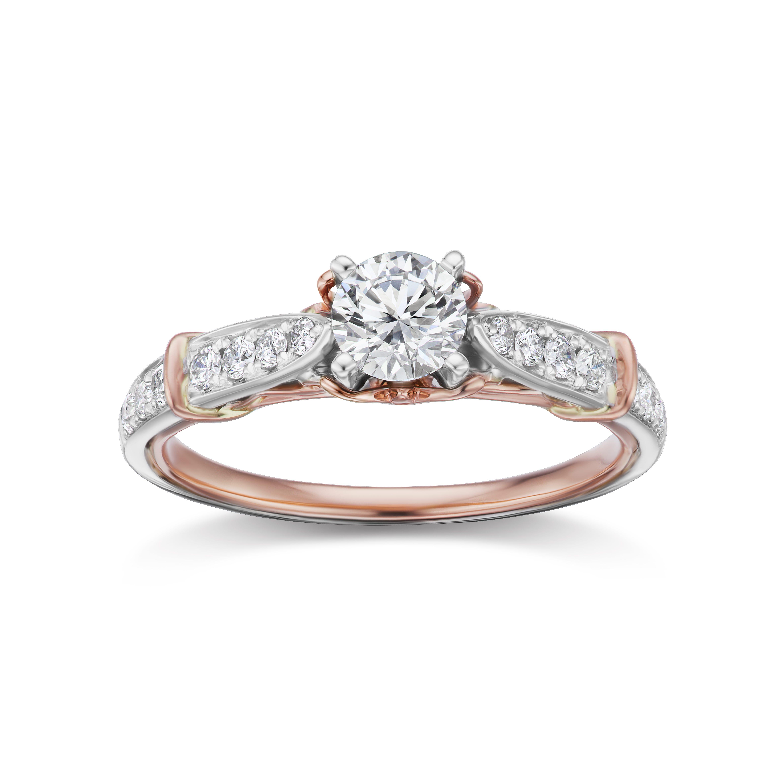 Lab Grown 3/4ct. Diamond Engagement Ring in 14k White & Rose Gold