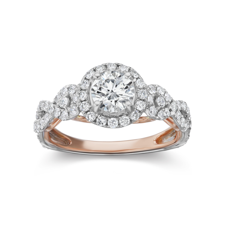 Lab Grown 1 1/2ct. Diamond Infinity Twist Three-Stone Engagement Ring in 14k White & Rose Gold