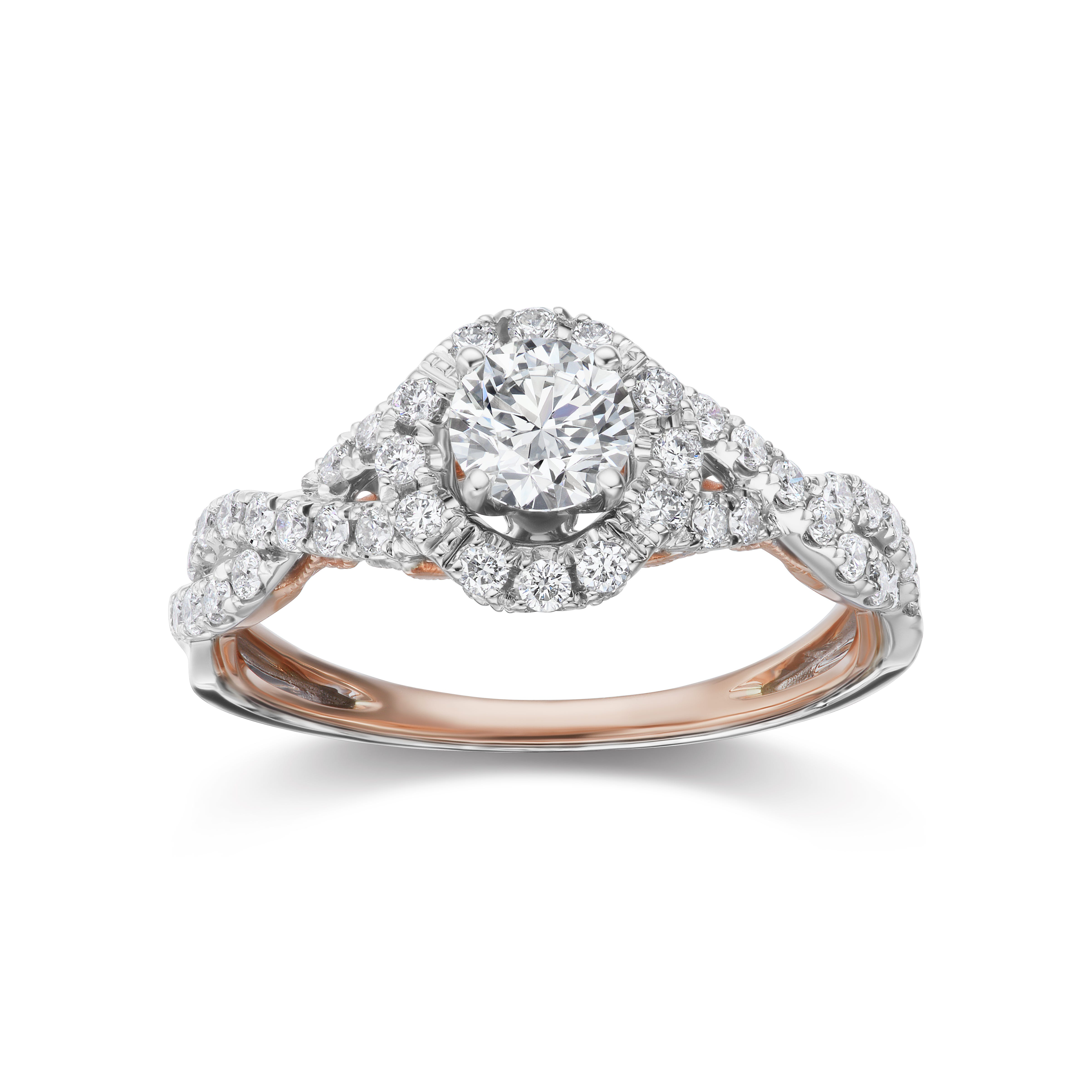 Lab Grown 1ct. Diamond Infinity Twist Engagement Ring in 14k White & Rose Gold