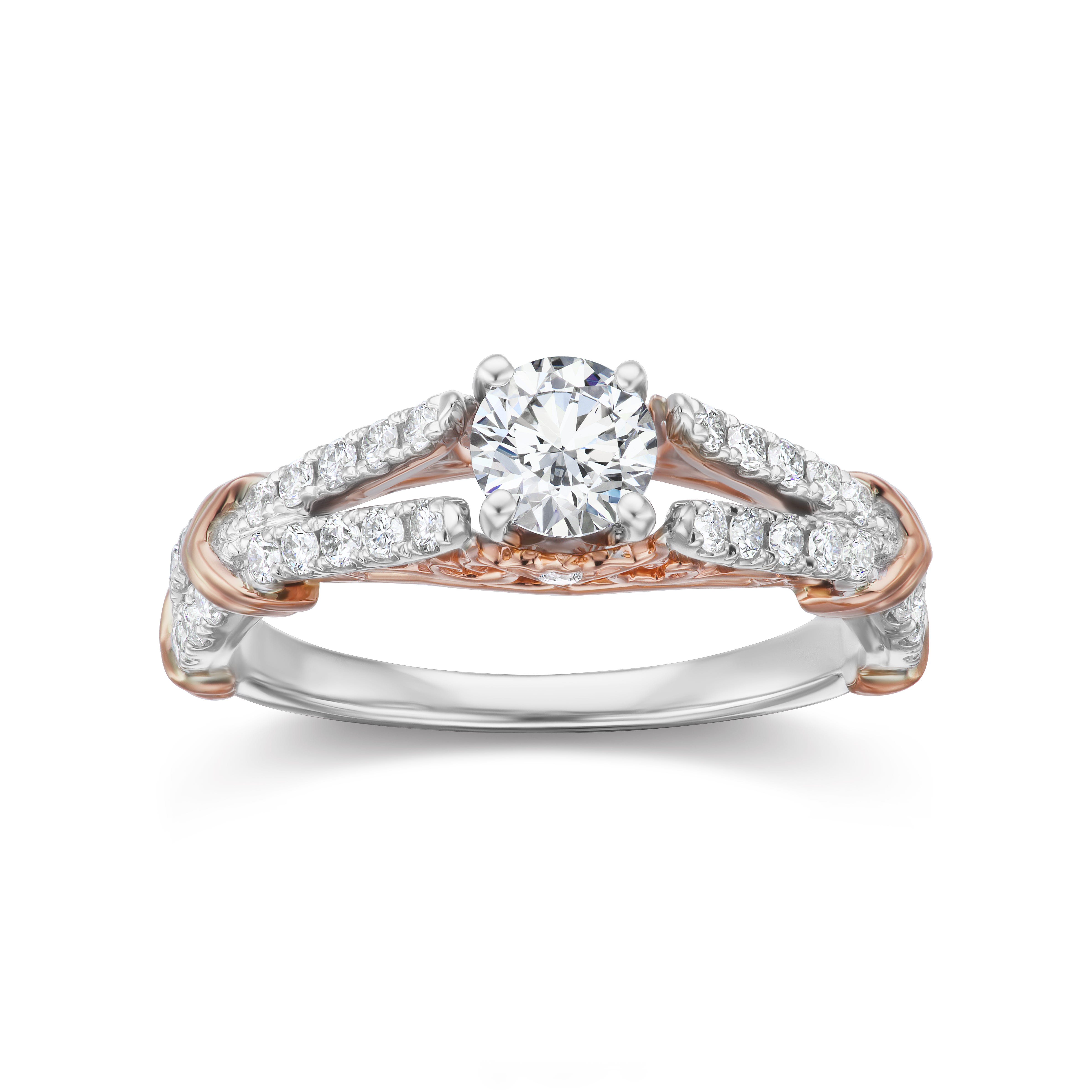 Lab-Crafted Split Shank Engagement Ring 1ctw. in 14k White & Rose Gold