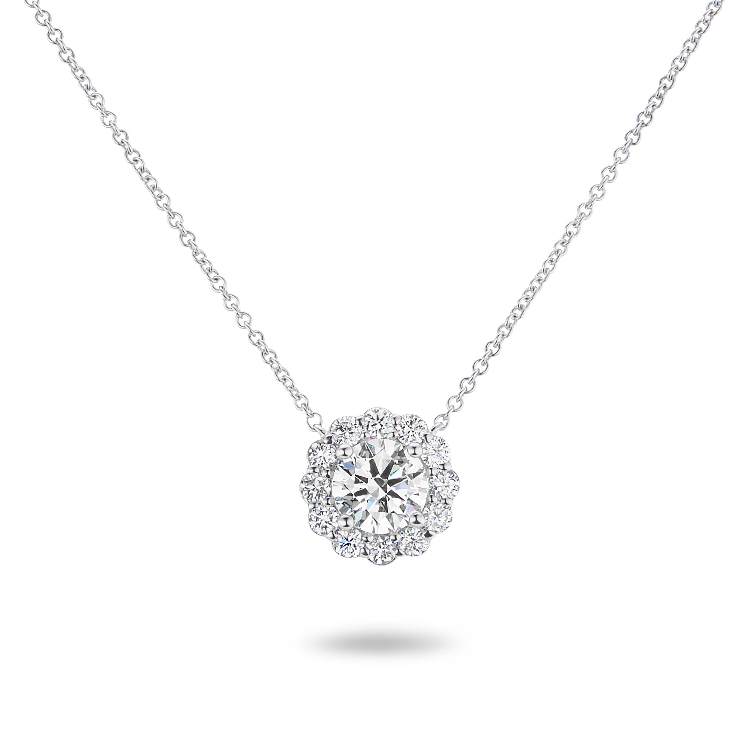 Lab Grown Round Halo Pendant 1.50ctw. In 14k White Gold