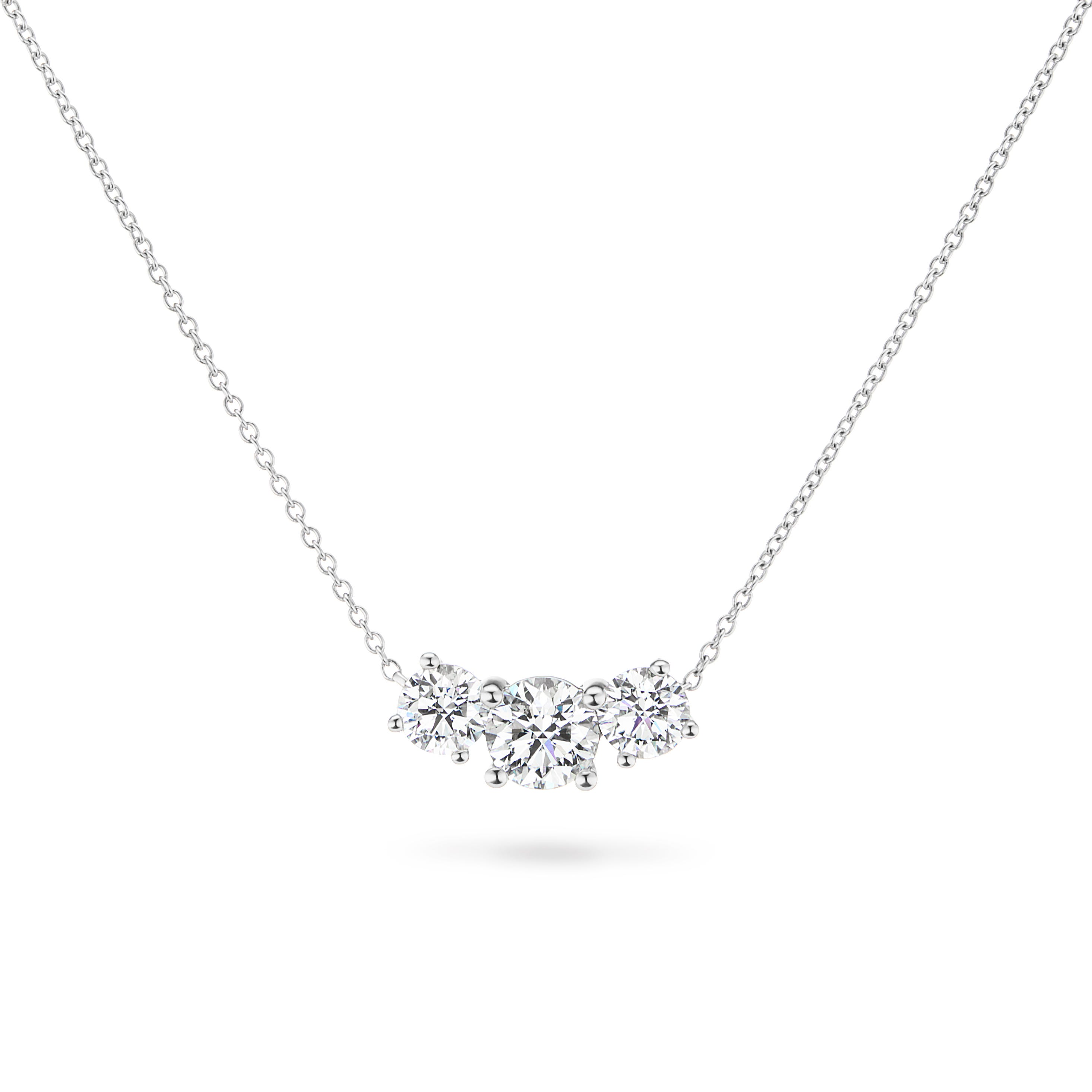 Lab Grown 3-Stone Necklace 2ctw. In 14k White Gold