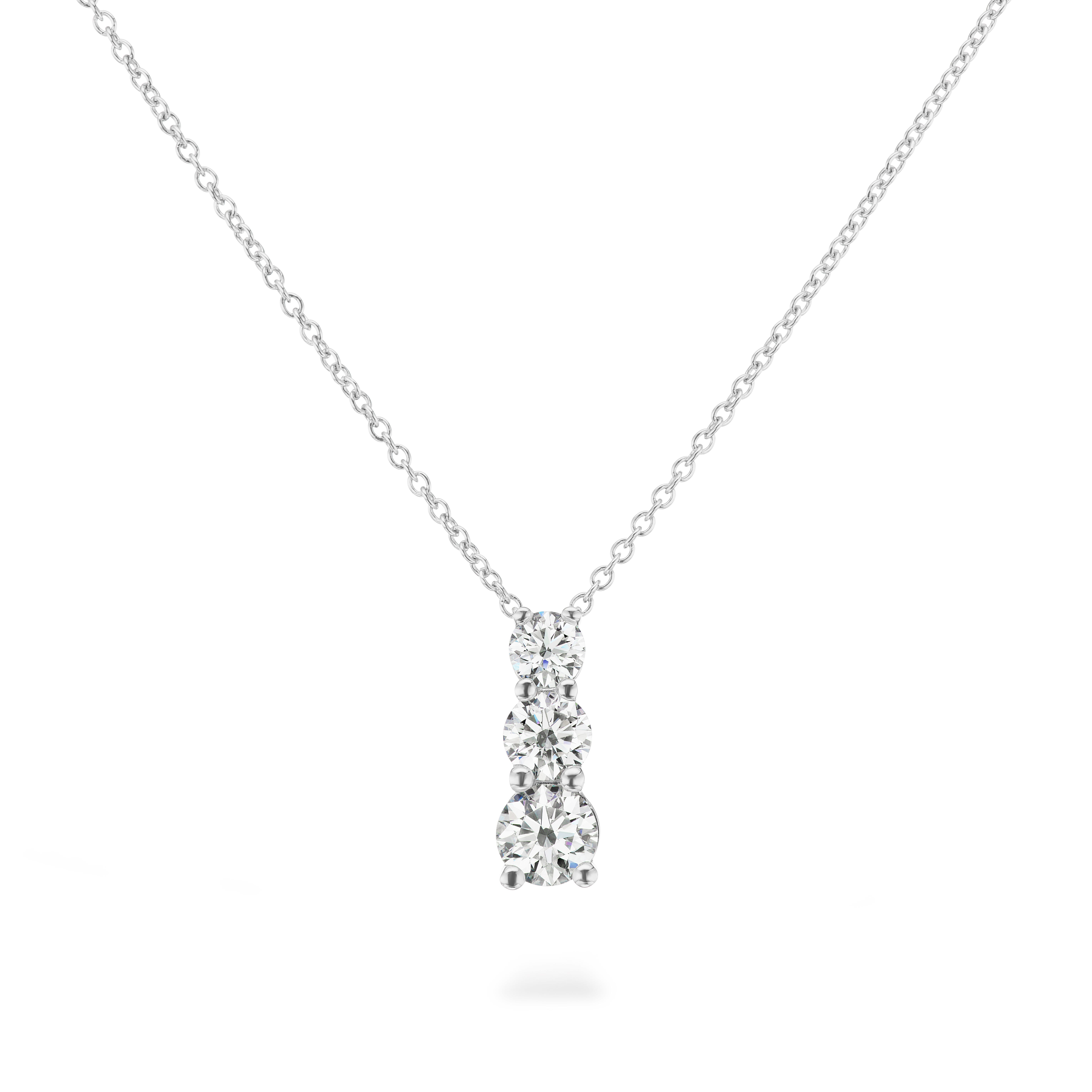 Lab Grown 3-Stone Pendant 1.25ctw. In 14k White Gold