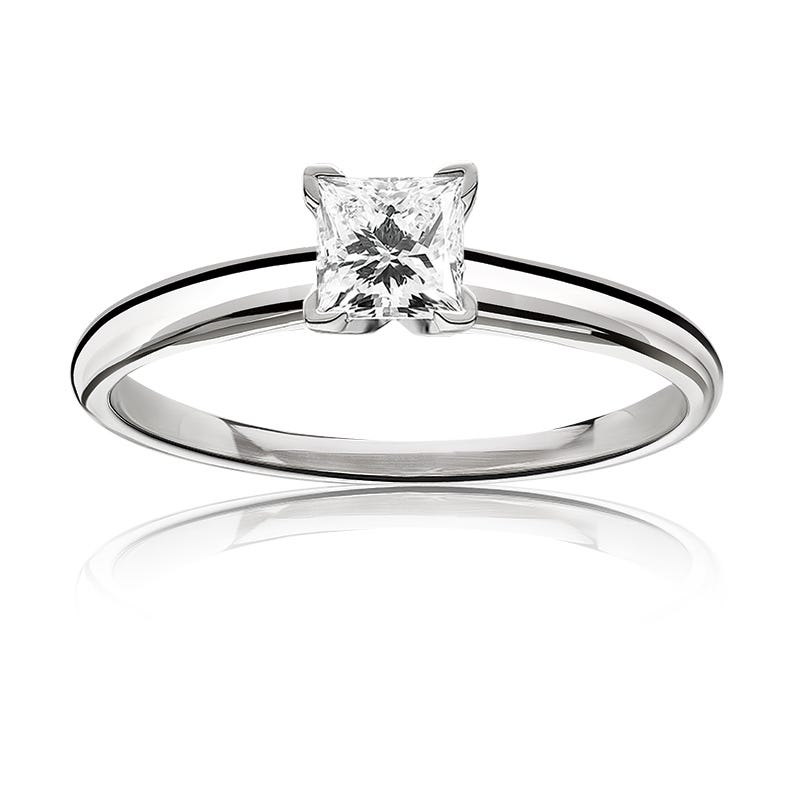 Lab Grown 3/4ct. Diamond Princess-Cut Classic Solitaire Engagement Ring in 14k White Gold