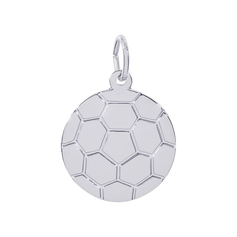 Flat Soccer ball Sterling Silver Charm