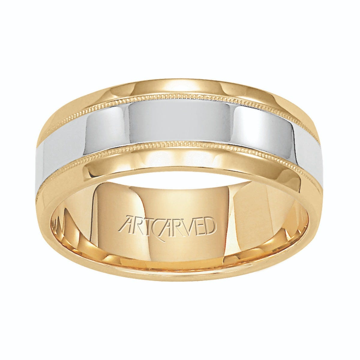 ArtCarved Men's 14K Yellow & White Gold Polished Milgrain Wedding Band