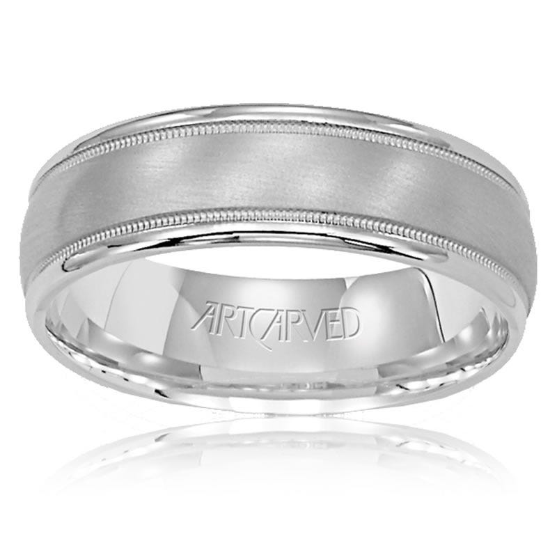 ArtCarved Men's Satin Milgrain Band in 14k Gold