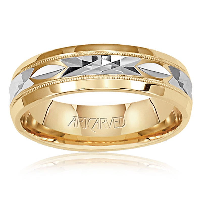 ArtCarved Men's 14k White & Yellow Gold Diamond-Cut Wedding Band