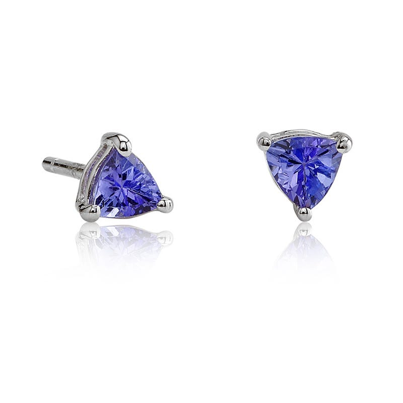 Triangle Tanzanite Stud Earrings in 14K White Gold