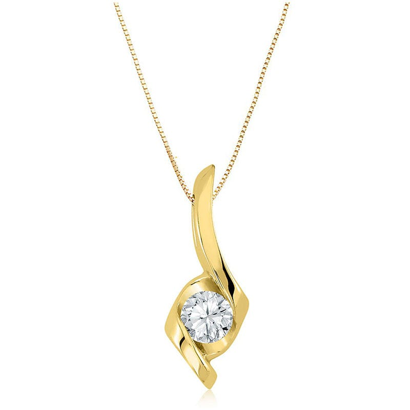 Sirena Diamond 1/4ct. Solitaire Pendant in 14k Yellow Gold