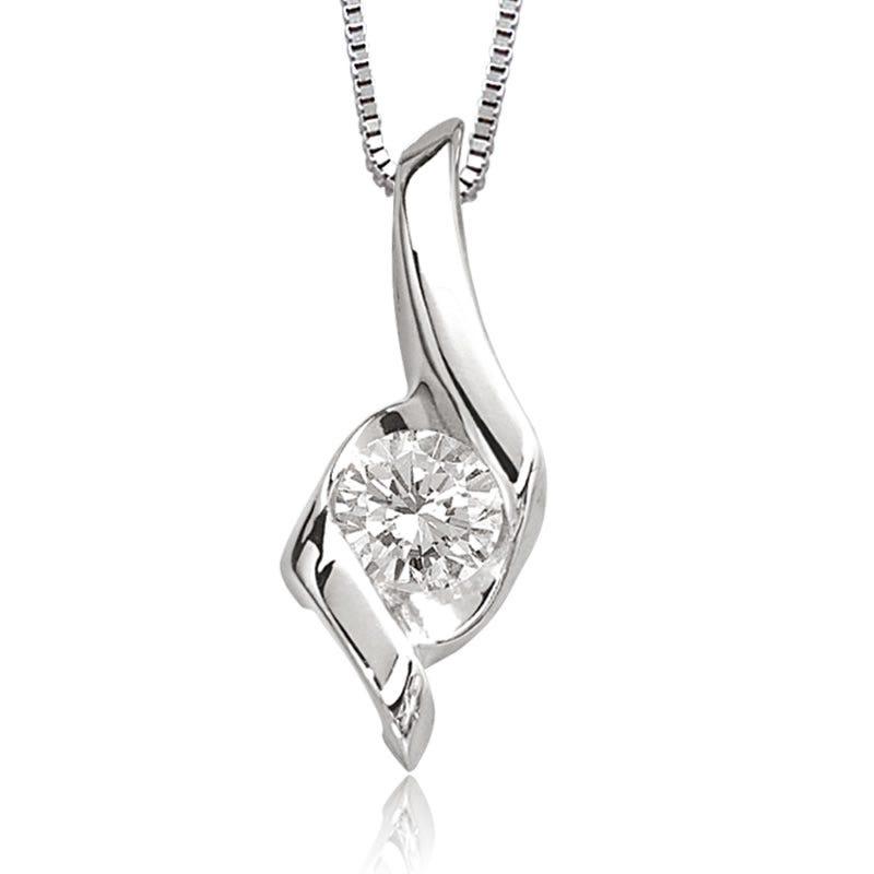 Sirena Diamond 1/3ct. Solitaire Pendant in 14k White Gold