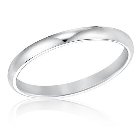 Ladies' 2mm Comfort Fit Classic Wedding Band in 14k White Gold, Size 6