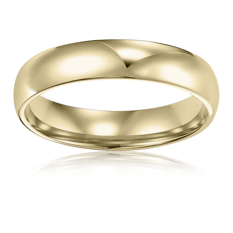 Men's 4mm Comfort Fit Wedding Band in 14k Yellow Gold, Size 10