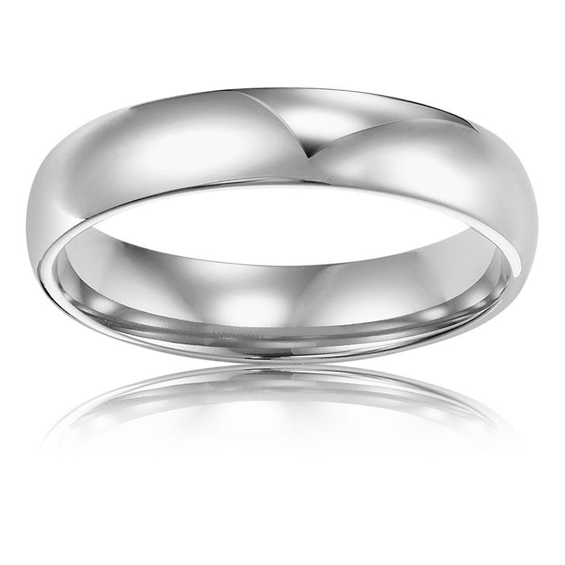 Men S 4mm Comfort Fit Wedding Band In 14k White Gold Size 9