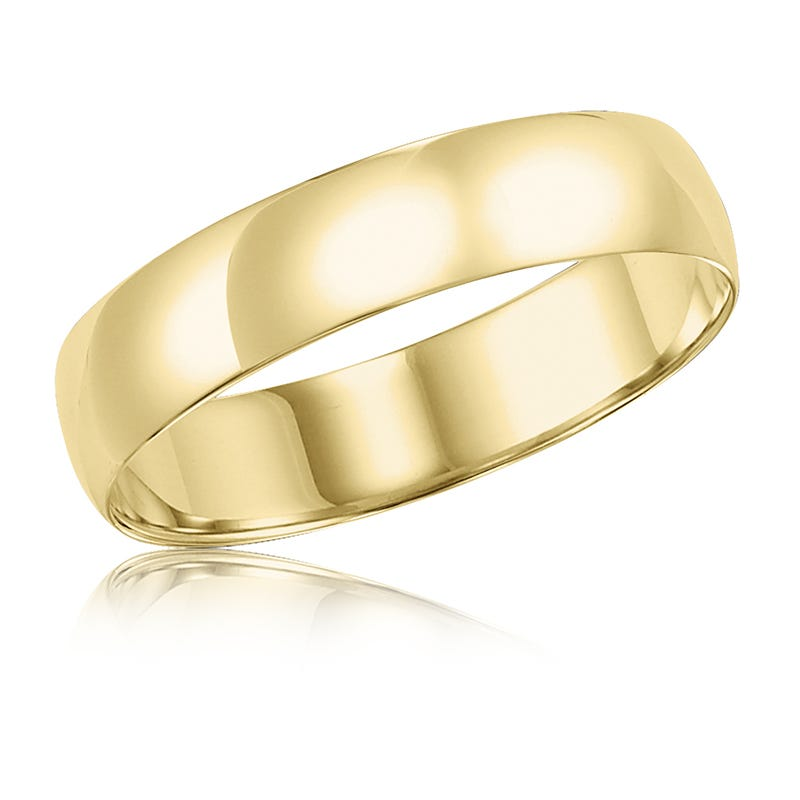 Men's 5mm Comfort Fit Wedding Band in 14k Yellow Gold, Size 11