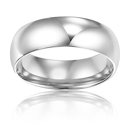 Men's 5mm Comfort Fit Wedding Band in 14k White Gold, Size 10