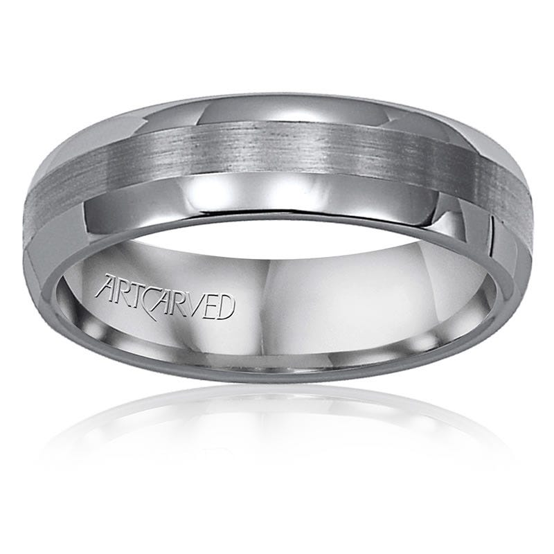 ArtCarved Men's Tungsten Polish Satin Band