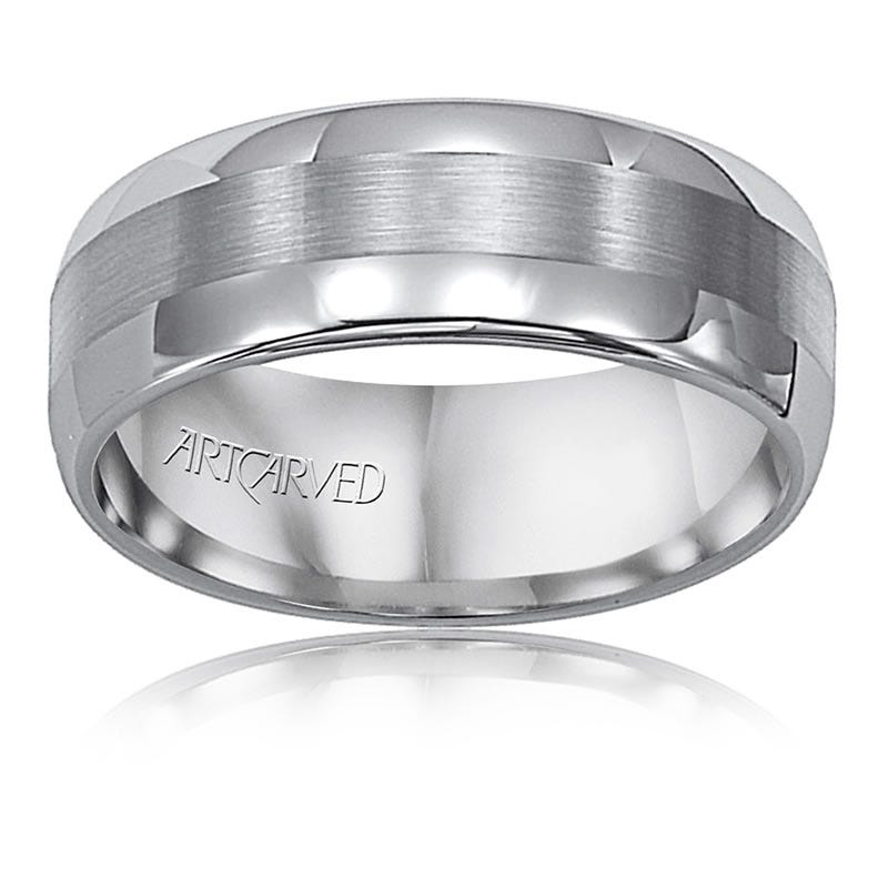 ArtCarved Men's Tungsten Polished Satin 8mm Wedding Band