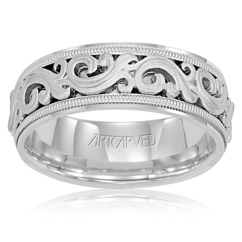 ArtCarved Men's Scroll Design 14k White Gold Wedding Band